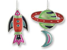 Calypso Voyager Spaceship & Planets Enamel & Silver Earrings Zarah. $22.99