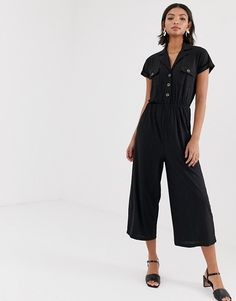 a08ca5720ac7 ASOS DESIGN | ASOS DESIGN button detail shirt jumpsuit with short sleeve  Fashion Online, Asos