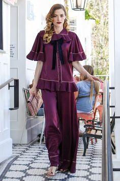 Celebrity Style I street style I pajama trend I Jamie King I purple ruffle blouse I purple wide leg trousers I sandals @monstylepin