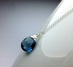Blue Quartz Necklace, Silver Pendant 925, Quartz Pendant Small Crystal Pendant Necklace Wire Wrapped Drop Necklace, Christmas Gift for Women  Absolutely gorgeous, classy, wire wrapped pendant necklace in solid sterling silver 925 with blue Quartz, a beautiful, shiny and full of sparkle gemstone!