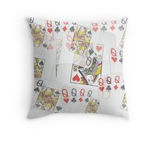 Poker  Cards  Quad Queens Layered Pattern Throw Pillow