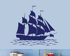SAILBOAT Nautical Wall Decal 22.4H x 30W Any Color