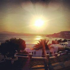Sunset in Mykonos. Bedroom view