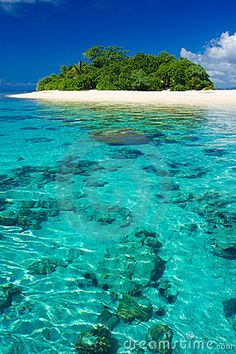 Beautiful tropical island vacation paradise with white sand, tall palms