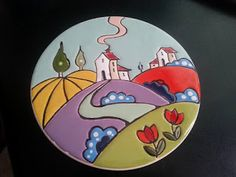 Il mondo di Dea: CUERDA SECA ,PIATTO DIPINTO A MANO Hand Painted Pottery, Pottery Painting, Ceramic Painting, Stone Painting, Different Types Of Painting, Coaster Crafts, Record Art, Clock Art, Mini Paintings