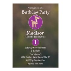 Girls Little Doe Pink Camo Green Birthday Party Announcements