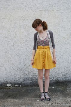 Modcloth Craving Curry skirt, bloom dress as a shirt, Forever21 cardigan, Modcloth floral flats, lace vest, vintage silver spoon brooch as a necklace
