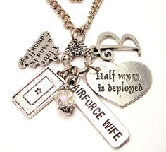 Personalized Airforce wife Half my heart is Deployed charm holder  necklace. $19.00, via Etsy.