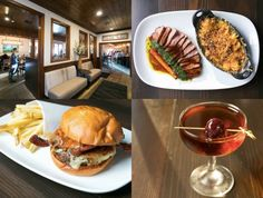 Clockwise from top left: Meadowlands' wood-clad dining room; the Beef in a Barrel with smoked tri-tip and bacon cauliflower 'n' cheese; the maple rum Manhattan; the Elvis burger with bacon and caramelized onions