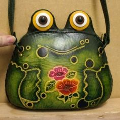 Green Leather Frog Purse