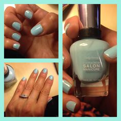 """#CSMHaveItAll #sallyhansen trying my new Sally Hansen Complete Salon Manicure in """"Barracuda"""" Blue!  #vowvoxbox thank you #Influenster for sending this beautiful blue shade complimentary, for testing purposes!!"""