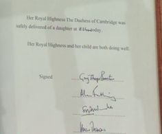 May 2, 2015 ~ A baby girl -- 4th in line to the British throne -- was born to Prince William & Kate Middleton (The Duke & Duchess of Cambridge) on May 2, 2015. This traditional announcement was placed on an easel in front of Buckingham Palace.