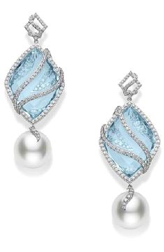mikimoto ...aquamarine, diamond and pearl earrings from the Reflection collection.