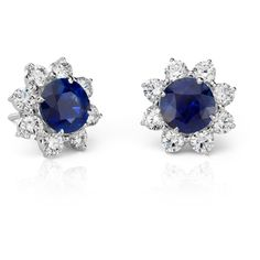 Blue Nile Classic Round Sapphire and Diamond Halo Earrings ($22,000) ❤ liked on Polyvore featuring jewelry, earrings, accessories, brincos, jewels, blue jewelry, diamond halo earrings, blue nile, sapphire jewelry and blue nile jewelry