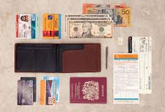 Travel Wallet - Slim Leather Wallets by Bellroy..can carry a passport, airline tickets, micro travel pen, chg cards, money etc...nice