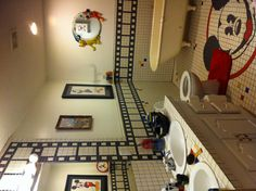 Mickey Mouse bathroom..check out that tile floor awesome!
