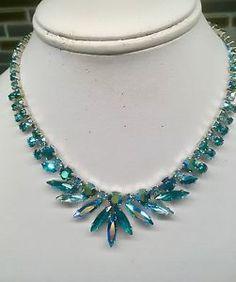 Vintage Signed Sherman Blue Green Aurora Borealis Necklace b319ec01e1ab