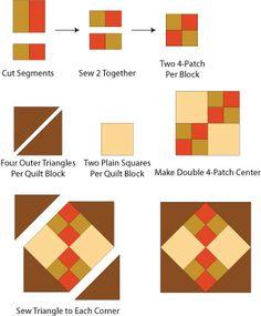 Geliştirilmiş Dört Patch Yorgan Blok Desen - © Janet Wickell