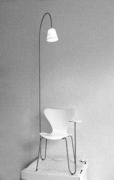 """added"" floor Lamp in pure white and with minimal design 