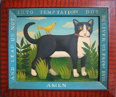 Cat and Bird / Lead us not into temptation | American Folk Art Painting - Diane Ulmer Pedersen