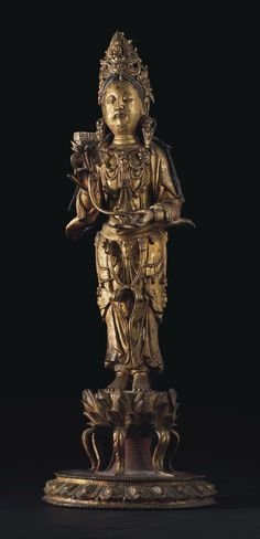 """6/"""" Asian Antique Tibet painting Colourful gilt Four arm guanyin Buddhism statue"""