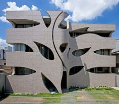 Villa Saitan—a housing complex in Kyoto, Japan, completed in 2006 by local firm Eastern Design Office—is encased in a concrete shell with undulating cutouts that mimic the roots, trunk, and leaves of a tree | archdigest.com