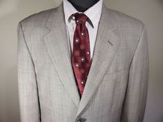 Mint Tasso Elba for Macy's 42R Mens Gray Plaid Wool 2BTN Sport Coat Blazer #TasoElba #TwoButton
