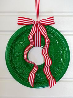 Exterior. Wonderful Green Red Cool Design Ceiling Medallion Wreath With Striped Ribbon Holiday House Door Front Door Floating Ribbon At Home As Well As Unique Front Door Wreaths  Also Unusual Wreath Ideas. Beautiful Design Christmas Wreaths Ideas To Make