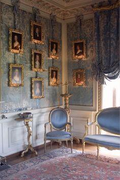 amazing rococo interior decor, blue, gold, and white