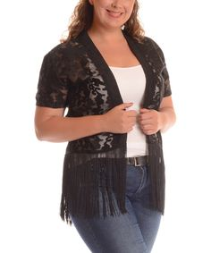 Look at this #zulilyfind! Black Sheer Lace Open Cardigan - Plus by Shoreline #zulilyfinds