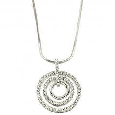 Triple Circle CZ Pendant Necklace