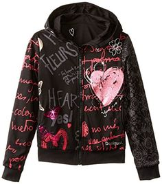 Desigual Big Girls' Black Zip Up Sweater, Black, 13/14 Desigual