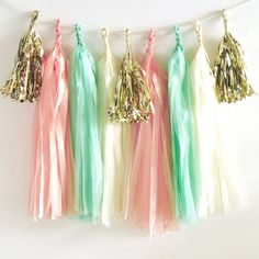 Add a colourful backdrop to your celebration with our DIY Tassel Garland Kit.Available colours: Red, Hot Pink, Candy Pink, Blush Pink, Coral, Orange, Peach, Sand, Ivory, White, Black, Grey, Silver Tissue, Gold Tissue, Yellow, Lime Green, Mint Green, Navy, Light Blue, Dark Purple, Lilac, Mini Rose Gold, Mini Gold, Mini Silver.With easy to follow instructions and lots of colour combinations available you will have your pretty garland set up in no time! Choose up to 4 colours to make 20 tassels…