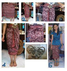 Kain batik as a skirt Kebaya Lace, Batik Kebaya, Batik Dress, Blouse Batik, Traditional Fashion, Traditional Outfits, Diy Couture Foulard, Drape Skirt Pattern, Mode Batik