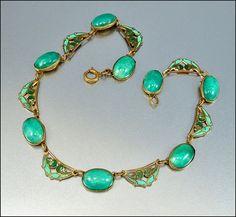Enamel Green Glass Czech Necklace Art Deco Jewelry by boylerpf