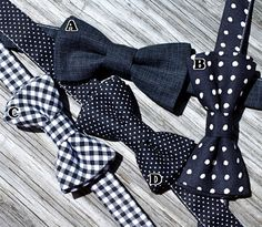 Black Bow Tie for Boys : Black and White Gingham Tie , Black and White Dot Tie, Solid Black Tie. $18.00, via Etsy.