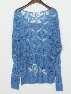 Blue Round Neck Long Sleeve Hollow Batwing Loose Sweater $40