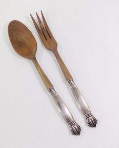 WEB Sterling Silver Handle Wood Salad Fork