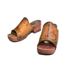70s Vintage Wooden Clog Mules Tooled Leather Platforms Women Sandals Shoe size 10 M via Etsy