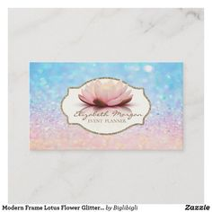 Shop Modern Frame Lotus Flower Glitter Bokeh Ombre Business Card created by Biglibigli. Gold Business Card, Elegant Business Cards, Photo Blocks, Modern Frames, Bokeh, Lotus Flower, Things To Come, Glitter, Flowers