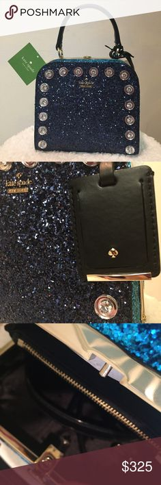 Kate Spade Glitter Purse, Skyline Way Violina Navy, jeweled, glitter covered Navy Kate Spade bag. Perfect for parties and stand out occasions. Solid structure and clasp. Comes with a strap to give the option of a shoulder bag. Measurements 6.2x7x3.1 kate spade Bags Totes