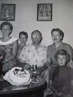 Vintage Photo...Birthday Cake & Beer. . .1950's Vintage Snapshot