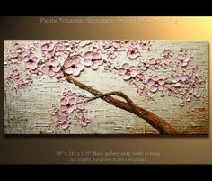 ORIGINAL Abstract Contemporary Silver Mist Oil Painting Heavy Palette Knife Texture by Paula Nizamas Ready to Hang 48""