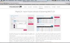 Playlist 24 : nasce il nuovo servizio di Streaming Web Tv 24. www.streamingwebtv24.it #tuttositiweb #web #design