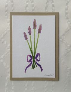 Hand Painted Watercolor Lavender Flowers Greeting Card, one of a kind, purple by thebeeandbug on Etsy
