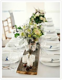 wooden table runner and white = updated thanksgiving decor! #anthropologie #pintowin