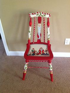 Hand painted chair pinned by the artist.