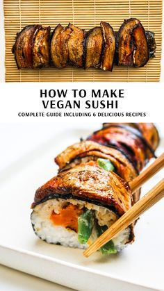 Vegan Meal Prep, Vegan Dinner Recipes, Delicious Vegan Recipes, Whole Food Recipes, Cooking Recipes, Japanese Vegetarian Recipes, Vegan Sushi Rolls, Sushi Roll Recipes, Cooked Sushi Recipes