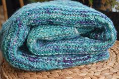Wool blanket wool throw handmade blanket hand by SylviasHandspun Turquoise And Purple, Sheep Wool, Hand Spinning, Wool Blanket, Signature Style, Handmade Art, Hand Knitting, Blankets, Cozy