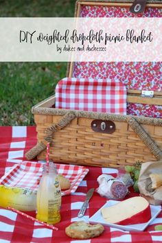 DIY gingham weighted picnic blanket made with a dropcloth